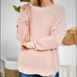 NWT Hi-Low Waffle Sweater with Round Neck - NWT
